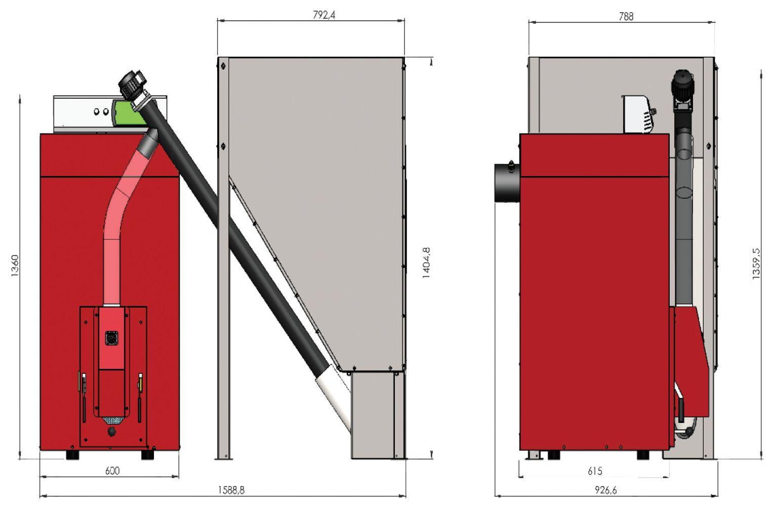 Kessel für Pellet Orligno 400 - 30 kW - Kessel, Heizkessel ...