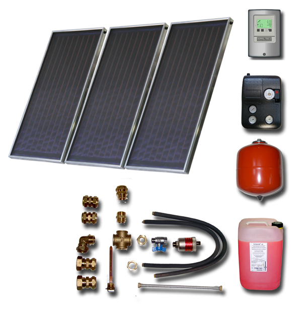 solar paket ohne brauchwasserspeicher 3 flachkollektoren. Black Bedroom Furniture Sets. Home Design Ideas