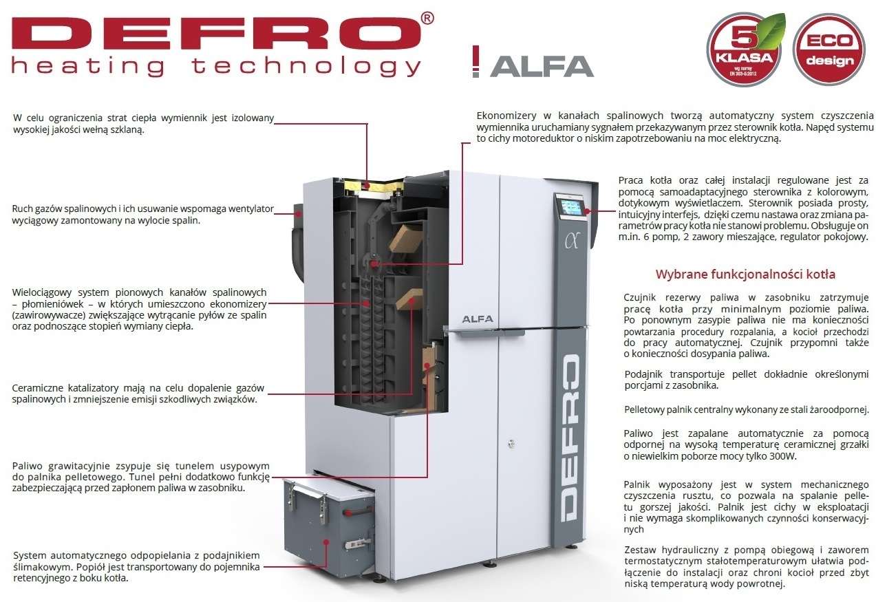Kocioł ekologiczny na pellet Defro Alfa 12 kW