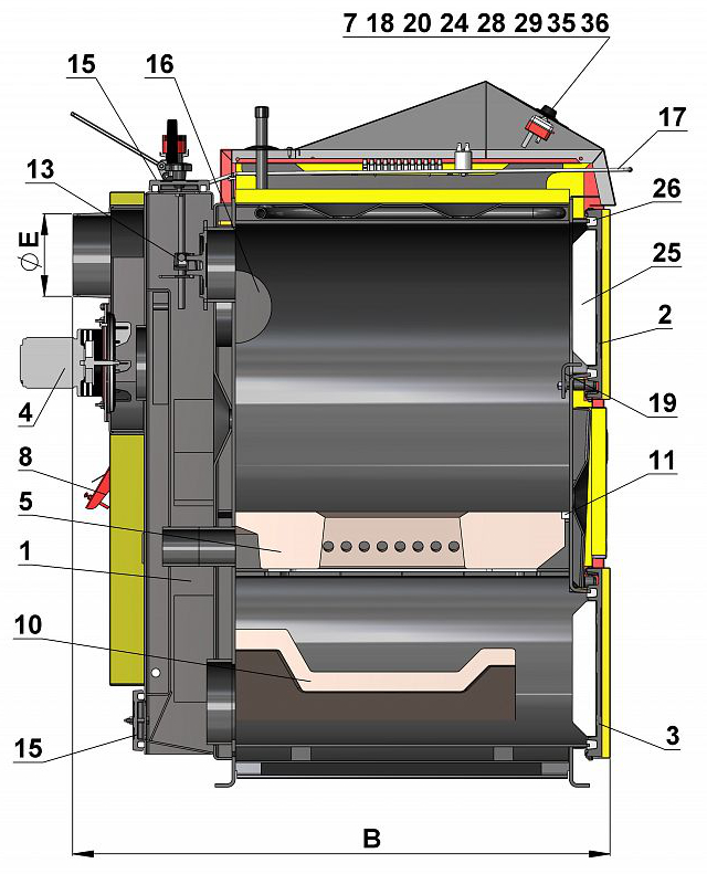 ATMOS DC 100 gasification boiler scheme with dimensions, side view