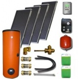 Solar package ENSOL (4 collectors ES1V 2,0S Cu-Cu) /2W.400/STDC/S35 for 4 - 6 people family