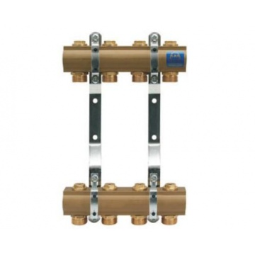 "Manifold   KAN - 1"" with lockshield valves - 8 heating circuits"