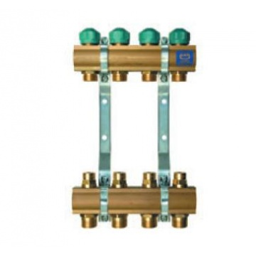 "Manifold   KAN - 1"" with lockshield valves - 3 heating circuits"