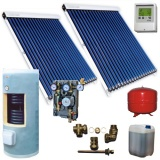 Complete solar package GALMET  LUXURY TUBE (2 vacuum collectors KSG PT15) /Galmet 2W.300/TDC-3/S24 for 3 or 4 people family