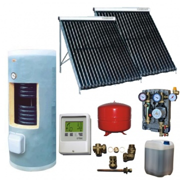 Complete solar package GALMET      HEAT TUBE (2 vacuum collectors KSG PT20) /Galmet 2W.400/STDC/S24 for 3 or 4 people family