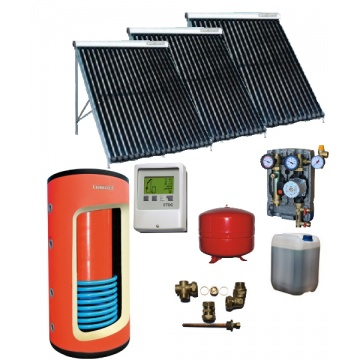 Complete solar package GALMET MAXI TUBE (3 vacuum collectors KSG PT20) /Galmet komb. 380/120 /STDC/S35 for 4 - 6 people family