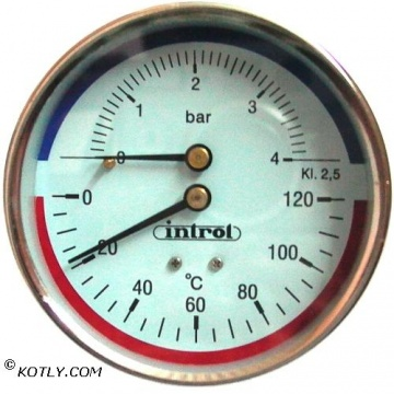 Thermomanometer INTROL TM 14 - 4 bar - Thread 1/2 - 0-120 Centigrade (rear connection)