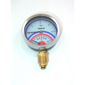 "Thermomanometer INTROL TM-17 - 4 Bar - Gewinde 1/2"" - 0-120 Grad Celsius (gerade)"