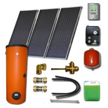Complete solar package ENSOL (3 collectors ES2V 2,65S Cu-Cu) /2W.500/STDC/S35 for 5 - 7 people family
