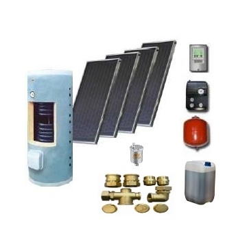 Complete solar package GALMET   PREMIUM MAXI (4 collectors KSG 20) /Galmet 2W.400/TDC-3/S35 for 4 - 6 people family