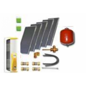 Complete solar package IT (5 collectors ES1V 2,0S Cu-Cu/ IT 2W.500) for 6 or 8 people family