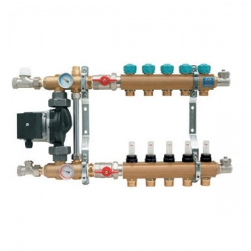 "Manifold   KAN - 1"" with mixing device and flowmeters - 4 heating circuits"
