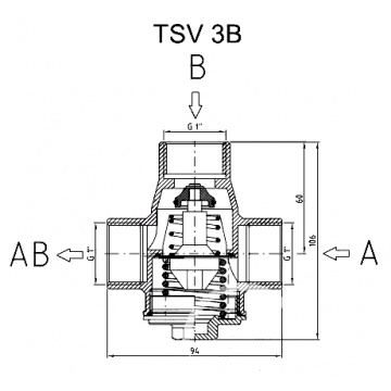 3-way thermic valve 25mm (1 inch) REGULUS TSV3B 45°C with automatic bypass balancing