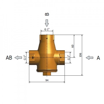 3-way thermic valve 25mm (1 inch) REGULUS TSV3B 55°C with automatic bypass balancing