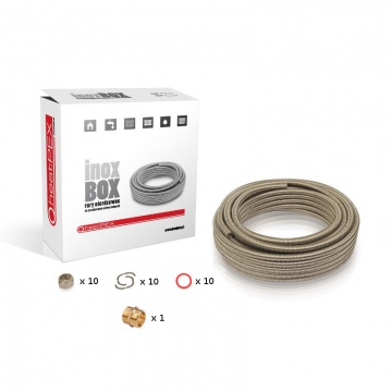 inoxBOX 20mm 10m set with flexible stainless pipe and accesories