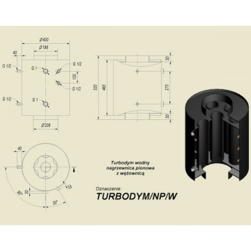 Turbodym water vertical heater with coil