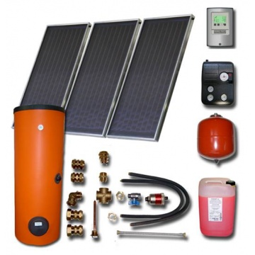Solar package ENSOL (3 collectors ES2V 2,0S AL) /2W.300/STDC/S24 for 3 or 5 people family
