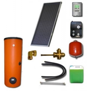 Complete solar package ENSOL (1 collector ES2V 2,65S Cu-Cu) /2W.200/STDC/S18 for 2 or 3 people family