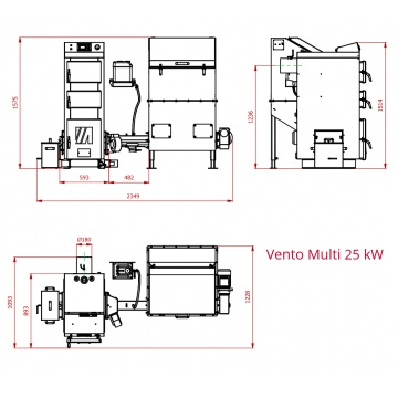 VENTO MULTI 25 kW - Automatic set with cast iron head and 0,6m³ fuel container