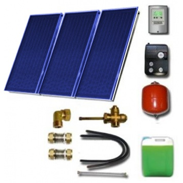 Solar package for 3-5 persons without hot water tank - 3 x collectors EM1V 2,0S Al-Cu, STDC, S24