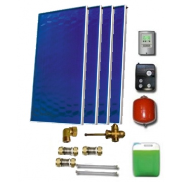 Solar package for 4-6 persons without hot water tank - 4 x collectors EM1V 2,0S, Al-Cu, STDC, S18