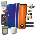 Solar package 2 collectors EM1V/2,0S Al-Cu /2W.200/STDC/S18 for 2 - 3 people family