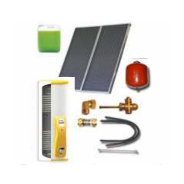 Complete solar package IT (2 collectors EM1V 2,0S Al-Cu / IT 2W.200) for 2 or 3 people family