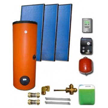Complete solar package ENSOL (3 collectors ES2V 2,65S Al-Cu) /2W.500/STDC/S35 for 5 - 7 people family