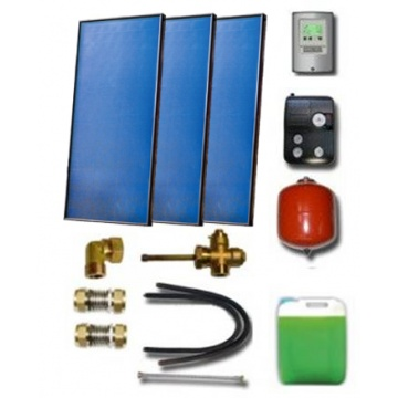 Solar package for 5-7 persons without hot water tank - 3 collectors ES2V 2,65S Al-Cu, STDC, S35