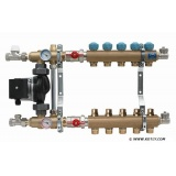 "Manifold   KAN - 1"" with mixing device and pump - 4 heating circuits"