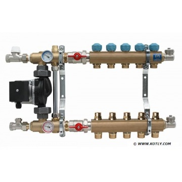 "Manifold   KAN - 1"" with mixing device and pump - 5 heating circuits"