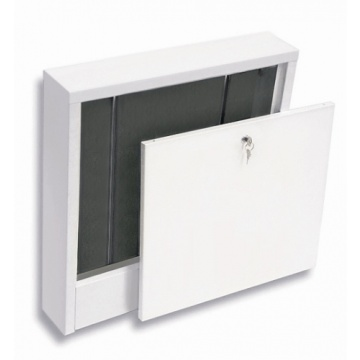 Wall-mounted          cabinet SWNE-varnished. Up to 10 heating circuits