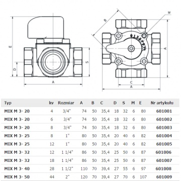 Three-way mixing valve Womix Mix M 3 x 1 1/4 (thread: interior)
