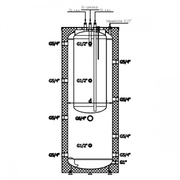 Combined insulated Heat Accumulation Tank GALMET 300/80 (vessel within vessel, without coils)